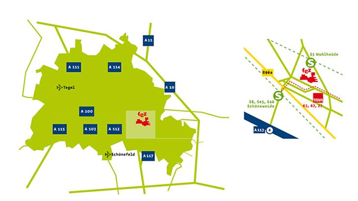 Anfahrtskizze zum FEZ-Berlin